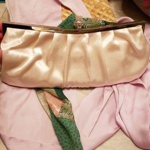 Handbags - ❤5 for $25❤satin clutch w/ rhinestone ball close